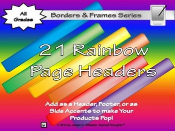 Rainbow Page Headers Clip Art Bundle Frames, Borders, Edges
