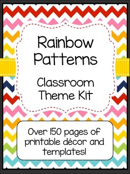 Rainbow Patterns Classroom Theme Kit with Editable File