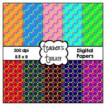 Rainbow Patterns Digital Background Papers {8.5 x 11} Clip