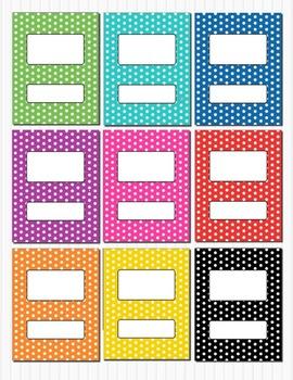 Rainbow Polka Dot Binder Insert Folder Covers (box) 8.5 x