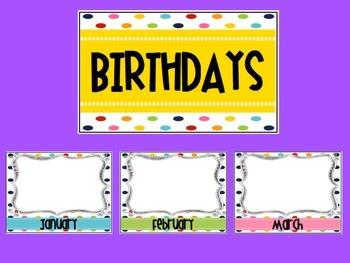 Rainbow Polka Dot Birthday Posters