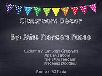 Rainbow Polka Dot Chalkboard Classroom Decor Bundle