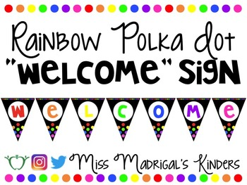 "Rainbow Polka Dot ""Welcome"" Banner"