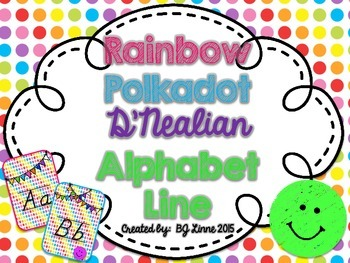 Rainbow Polkadot D'Nealian Alphabet Line