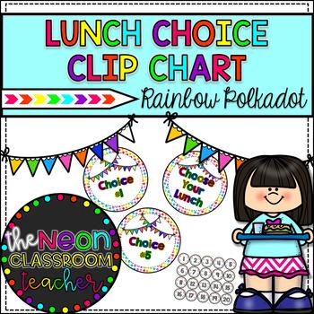 Rainbow Polkadot Lunch Choice Clip Chart