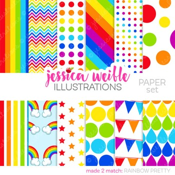 Rainbow Pretty Matching Digital Papers, Rainbow Papers