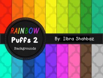 Rainbow Puffs 2 Digital Paper Backgrounds