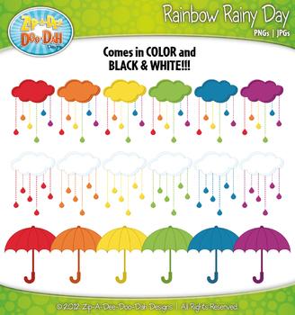 Rainbow Rainy Day Clipart — Contains 20 Graphics!