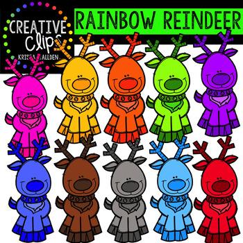Rainbow Reindeer {Creative Clips Digital Clipart}