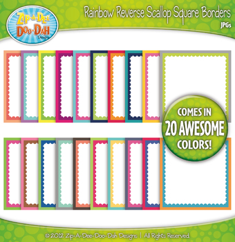 Rainbow Reverse Scallop Square Borders — Basic Bundle Pack