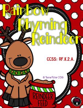 Rainbow Rhyming Reindeer Christmas File Folder Game Presch