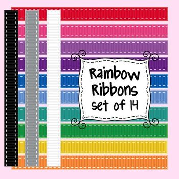 Rainbow Ribbons Clip Art Set of 10 for Commercial and Pers