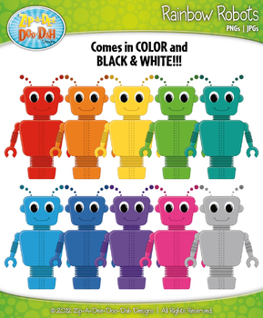 Rainbow Robots Clipart — Over 10 Graphics!