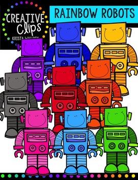 Rainbow Robots {Creative Clips Digital Clipart}