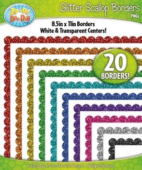 Rainbow Scallop Glitter Frame Borders Set 1  — Includes 20