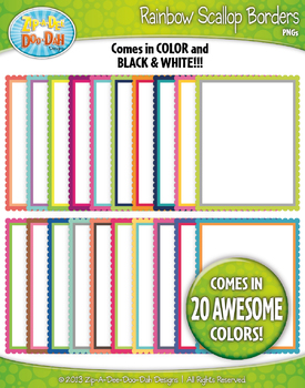 Rainbow Scallop Rainbow Borders — Includes 20 Colorful Graphics!