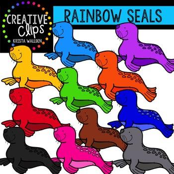 Rainbow Seals {Creative Clips Digital Clipart}