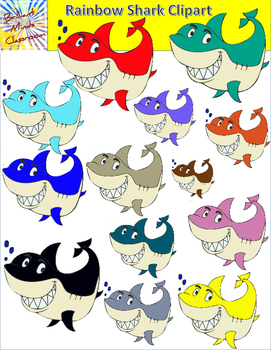 Rainbow Shark Clipart - 28 Graphics