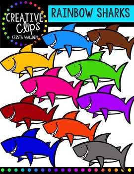 Rainbow Sharks {Creative Clips Digital Clipart}