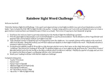 Rainbow Sight Word Challenge