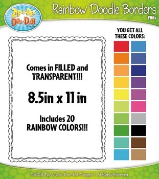 Rainbow Skinny Doodle Border Frames Set 13  — Over 40 Graphics!