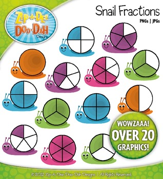 Rainbow Snail Fractions Clipart — Over 20 Graphics!