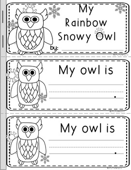 "Color Word Booklets ""Rainbow the Snowy Owl"""