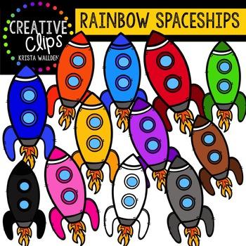 Rainbow Spaceships {Creative Clips Digital Clipart}