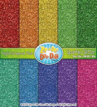 Rainbow Sparkle Glitter Digital Scrapbook Pack (10 Pages)