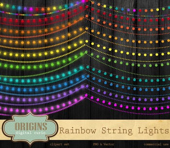 Rainbow String Lights Clipart, Party Lights Vector and PNG