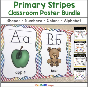 Rainbow Stripe Classroom Posters Bundle (Colors, Numbers &