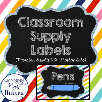 Rainbow Stripe School Supply Labels (Editable)