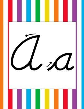 Rainbow Striped Cursive Alphabet