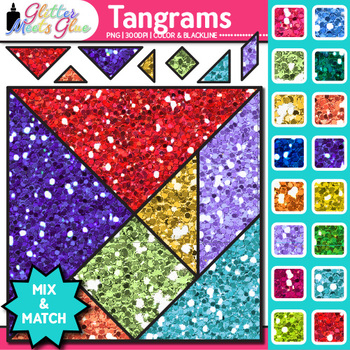 Tangrams Clip Art {Brain Teasers, Geometry Games, Logic Pu