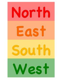 Rainbow Themed Cardinal Directions Printable (North, East,