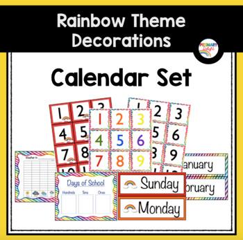 Rainbow Themed Classroom Decorations: Calendar