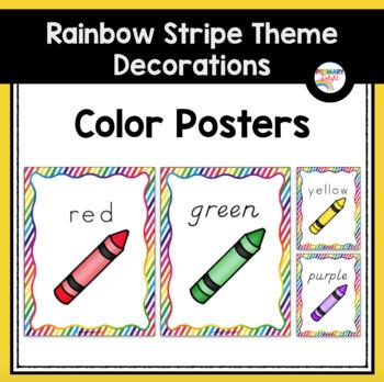 Rainbow Themed Classroom Decorations: Rainbow Stripe Color