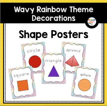 Rainbow Themed Classroom Decorations: Wavy Rainbow Shape Posters