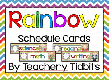 Rainbow Themed Schedule Cards