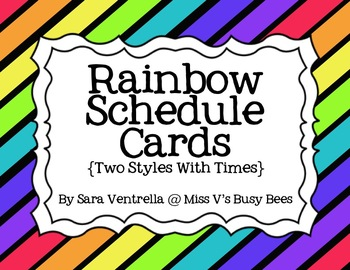 Rainbow Themed Schedule Cards {2 Styles + Times} - EDITABLE!