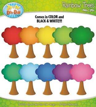 Rainbow Tree Clipart — Over 10 Graphics!