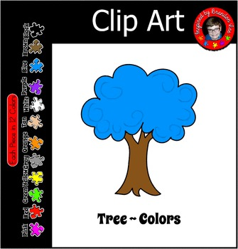 Rainbow Tree of Many Colors ~ 12 shades of clipart ~ Comme