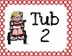 Rainbow Tub and Station Labels in Polka Dot and Chevron Patterns