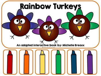 Rainbow Turkeys-Adapted Interactive Fall Color Book {Autis