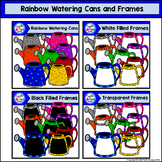 Rainbow Watering Cans and Frames Clip Art Set - Doodle Pat