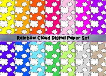 Rainbow + White Doodle Clouds Digital Paper Set