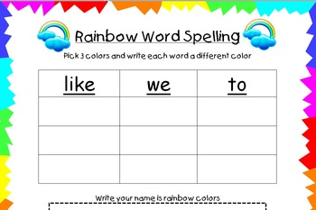 Rainbow Word Spelling