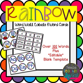 Rainbow Word Wall Labels and Cards [Editable]