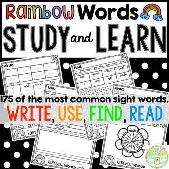 Rainbow Words- Study and Learn Pages