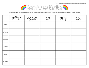 Rainbow Write! Primer and First Grade Dolch Words... FREE